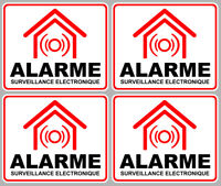 SET DE 4 SURVEILLANCE ELECTRONIQUE ALARME CAMERA SECURITE 8X6,5 STICKER AA133