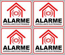 SET DE 4 SURVEILLANCE ELECTRONIQUE ALARME CAMERA SECURITE 8X6,5 STICKER AA133