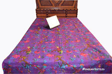 Bird Print Indian Handmade 100% Cotton Kantha Bedspread Blanket Quilt Bedding