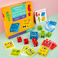 Cute Facial Expression Puzzle Building Blocks Educational Toys Cards Kids Gift
