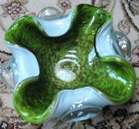 MURANO ART GLASS Bowl Dish Green Gold Sparkle Fleck Italian Italy Glass Art