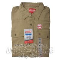 New Men's Coleman Stretch Canvas Shirt Long Sleeve Comfort Fit Olive L M XL XXL
