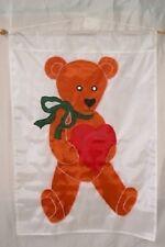 "28x40 Embroidered Sewn Teddy Beay Heart Appliqued Nylon Garden Flag 28""x40"""