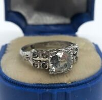 Vintage Sterling Silver Ring 925 Size 5 Cz Signed Mid Century