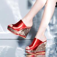 fashion Womens  Platform High Peep Toe Wedge Heels Mules Leisure Sandals Shoes