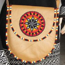 Natural Brown Leather Women Messenger Shoulder Handbag Medallion Beadwork