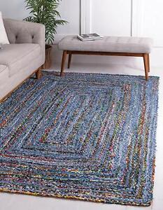 "2x3"" Feet Indian Braided Cotton&Denim Floor Rug Handmade Natural Rectangle Rug"