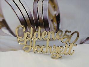 Schriftzug Goldene Hochzeit aus Spiegelacryl Gold Hochzeit Feier Deko