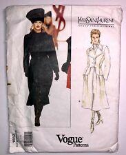 VOGUE 1990s Sew Pattern 1652 YSL YVES SAINT LAURENT Coat Dress 12-16 uc