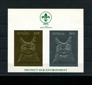 Guyana 1993 Birds Owls Scouts  Michel BL 259-60var RARE Gold/Silver Foil Sheet