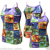 Out Stitched Ladies Patchwork Hippie Tank Tops Tie Dye Festival Sleeveless Vest