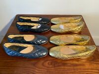 David Roberts Andrea Quilted Leather Ladies Full Slippers Sizes 2 & 3 Navy/Gold