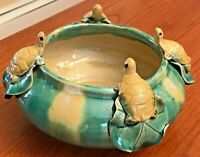 "Vintage Majolica Art Pottery Turtles and Leaves on 7""x4"" Bowl Planter Green Tan"
