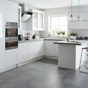 B&Q Santini White, Anthracite Gloss Base & Wall Clad On End Panels - Varies size