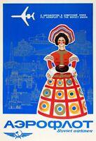 "Soviet Vintage Travel Poster or Canvas Print ""Aeroflot Airlines"""