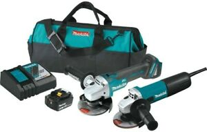 Makita DK0060MX1, Corded/Cordless Angle Grinder Combo Kit with Charger & Battery
