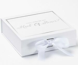 Will You Be My Maid Of Honor? Proposal Box White - Silver Font w/ Bow