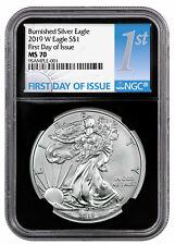 2019 W 1 oz Burnished American Silver Eagle NGC MS70 FDI Black Core SKU55855