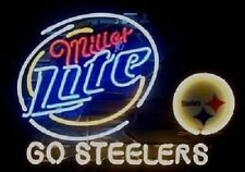 "New Miller Lite Pittsburgh Steelers Go Steelers Beer Neon Light Sign 24""x20"""