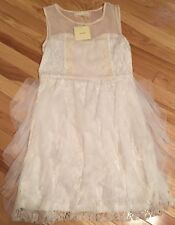 A'Reve Creme Lace Dress Ruffle Bottom New With Tags Size Small Sleeveless