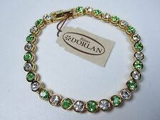 "D'Orlan Gold Plated Tennis Bracelet with Peridot Swarovski Crystal 7 1/2"" Length"