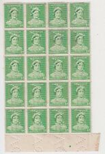 Stamps Australia 1d green die 2 queen mother perfin VG marginal block of 20, pip