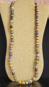Vintage Genuine African Trade Sand Glass Mix Long Chunky Bead Strand Necklace