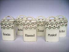 6x Vorratsdose,klein STAFFEL Keramik RITA Rosen Dec.208 Dose Jugendstil um 1910