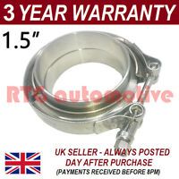 "V-BAND CLAMP + FLANGES COMPLETE STAINLESS STEEL EXHAUST TURBO HOSE 1.5"" 38mm"