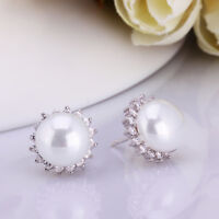 New 18K White Gold Filled Crystal Mother of Pearl Stud Earrings Wedding Stunning
