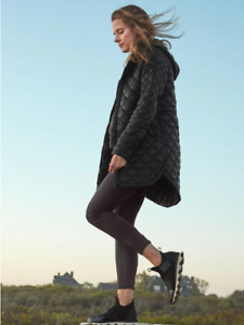 ATHLETA Whisper Featherless Parka Coat L Large NWT  Black Travel Casual #599475