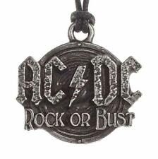 More details for ac/dc logo pendant alchemy rocks necklace pewter rock or bust official merch