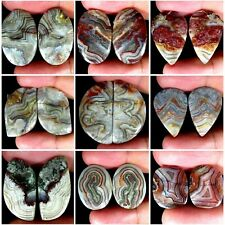 Natural Crazy Lace Agate Matched Pair Oval Pear Cushion Cab Loose Gemstones PK26