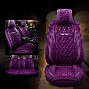 Purple Leather Plush Car Seat Cover Set Front Rear Universal Fit 99% 5 Seats Car