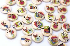 Animal Wood Sewing Buttons Cartoon Zoo Animals Two Holes Kids Sweater 18mm 50pcs