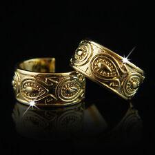18k Gold GF Antique Style Huggie Men Women Unisex Solid Earrings