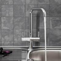 Modern Mono Kitchen Sink Mixer Tap Twin Lever Stick Handles Swivel Chrome Faucet