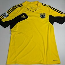 Adidas MLS The Crew Soccer Jersey Climacool Short Sleeve Yellow Black Size M