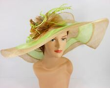 Church Kentucky Derby Wedding Party Sinamay Wide Brim Dress Hat 3033 Lime Green