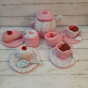 Lillian Vernon Soft Toy Fabric Tea Set Cloth Plush Pink Floral Bag Cup Pot