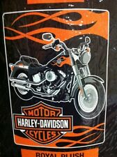"HARLEY-DAVIDSON FAT BOY ROAL PLUSH RASCHEL WARM THROW BLANKET 60"" X 80"