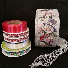 Christmas Ribbon Destash  Lot of 6 rolls  Various Styles and Materials