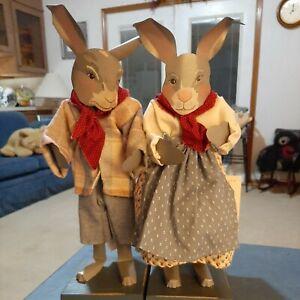 "Shadowdancers Folk Art Sheet Metal Two 15"" Rabbits Signed Young"
