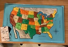 United States Puzzle Map Plastic Vintage Toy Educational Toys Learn The States