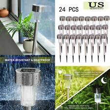 24PCS Outdoor Stainless Steel LED Solar Power Light Garden Path Landscape Lamps
