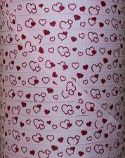 """5 Yards 3/8"""" Valentine Floating Hearts Print Grosgrain Ribbon 4 Hairbow Bow"""