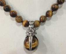 "8MM GENUINE TIGER EYE GEMS STONE ROUND BEADS NECKLACE & PENDANT 18"" AA"