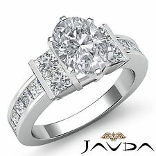Channel Set Fine Oval Diamond Comforting Engagement Ring GIA I SI1 Platinum 2 ct