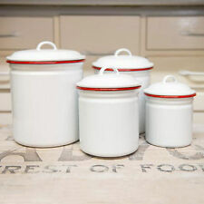 Crow Canyon Home Vintage Style Enamelware Canister Set Food Storage Cookie Jar