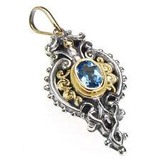 Gerochristo 1338~ Solid Gold, Silver & Blue Topaz ~ Medieval-Byzantine Pendant